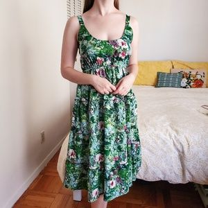 Vintage 90s Island Sundress Tier Skirt Sleeveless